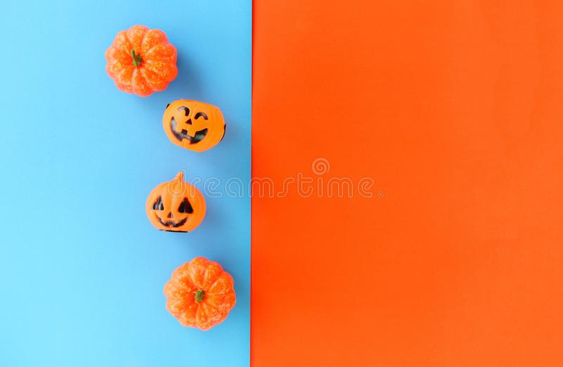 Halloween background blue and orange decorated holidays festive concept / jack o lantern pumpkin halloween decorations for party royalty free stock photos