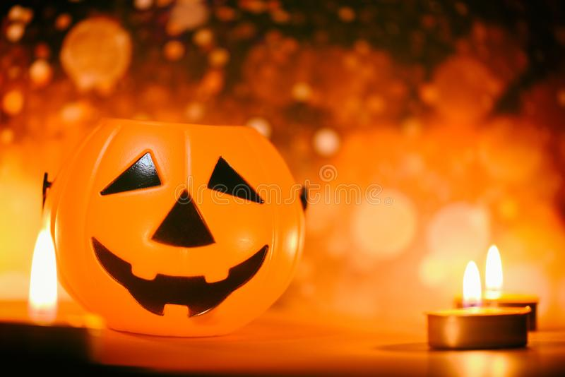 Halloween background candlelight orange decorated holidays festive concept - funny faces jack o lantern pumpkin halloween royalty free stock photo