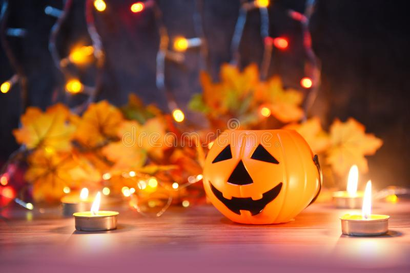 Halloween background candlelight orange decorated holidays festive concept - funny faces jack o lantern pumpkin halloween stock images
