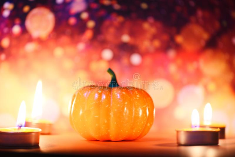 Halloween background candlelight orange decorated holidays festive concept - pumpkin halloween decorations for party accessories. Halloween background stock images
