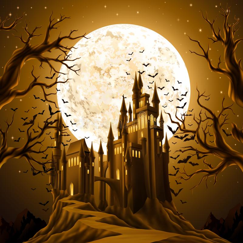 Halloween Background with Castle stock illustration