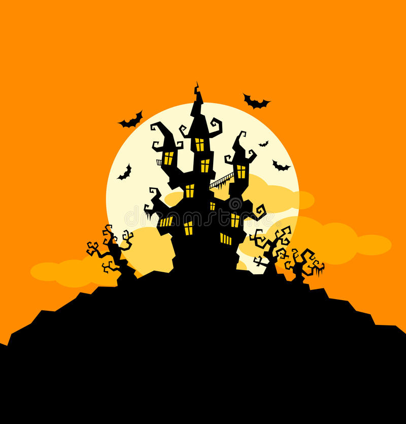 Download Halloween Background With Castle And Trees Stock Vector - Image: 26835360