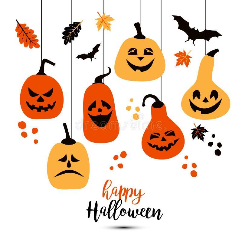 Halloween background of cheerful colors pumpkins. Vector illustration. vector illustration
