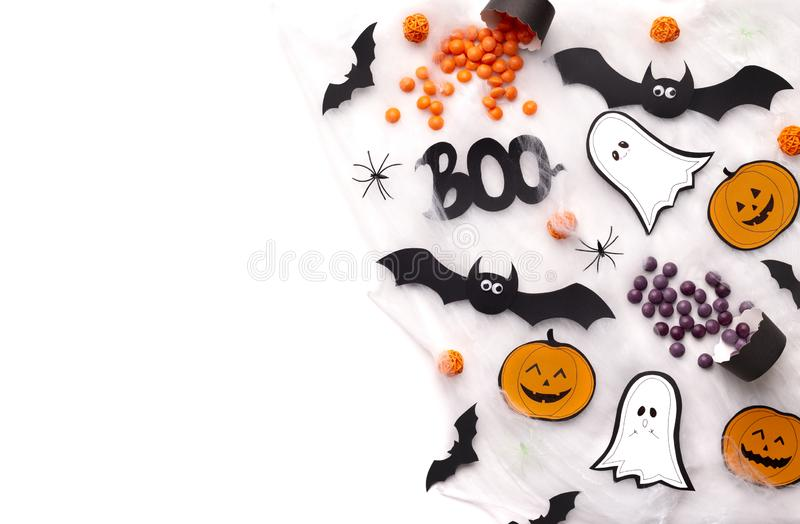 Halloween background with creative holiday silhouettes on white royalty free stock photography