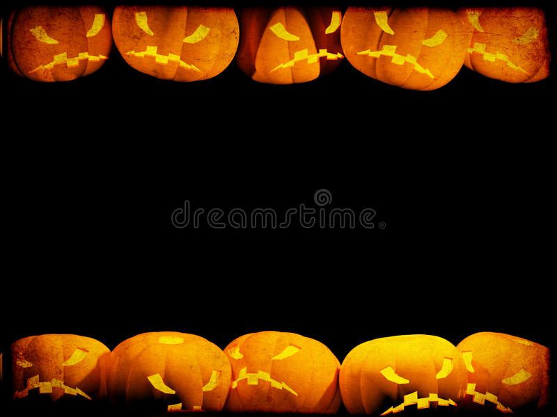 Halloween background with evil pumpkins stock illustration