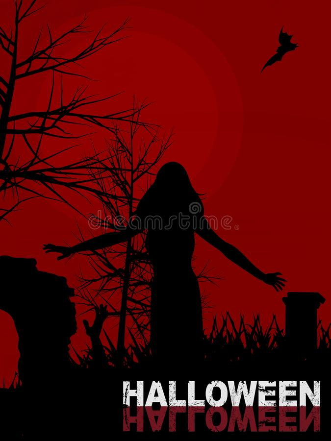 Halloween background with female zombie and text stock illustration