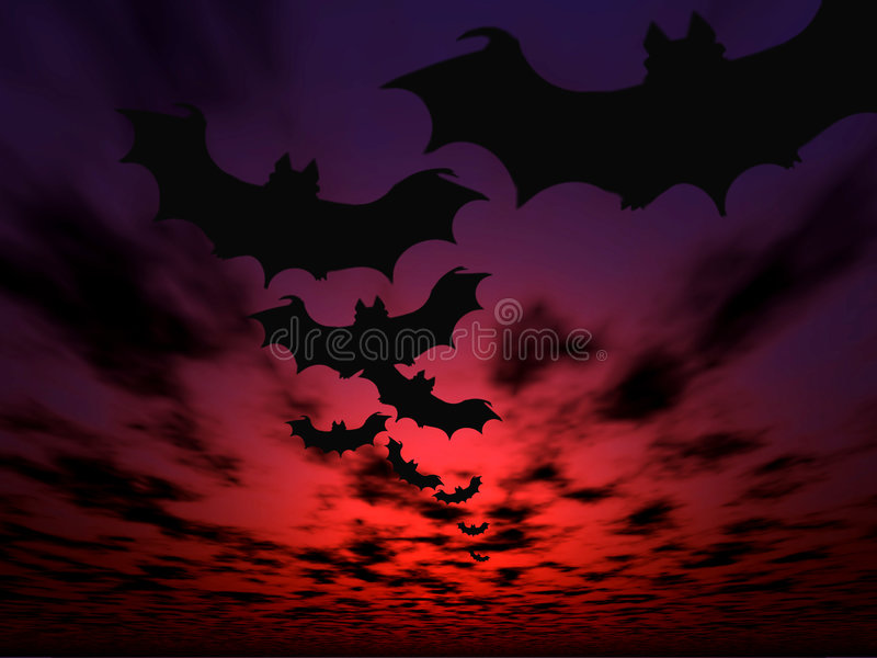 Halloween background. Flying bats stock illustration