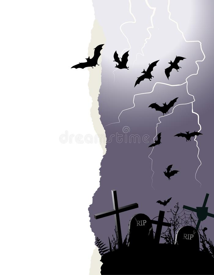 Halloween background with flying bats and a place for your text. Destroyed cemetery during storm, lightning stock illustration