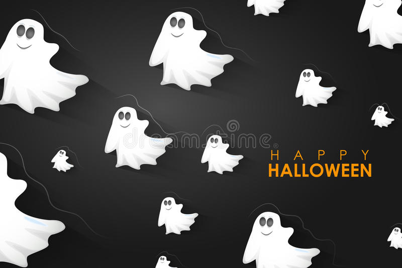 Halloween Background with flying Boo Ghost stock image