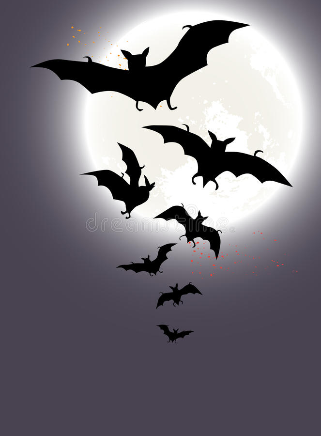Halloween Background With A Full Moon And Bats Royalty Free Stock Images