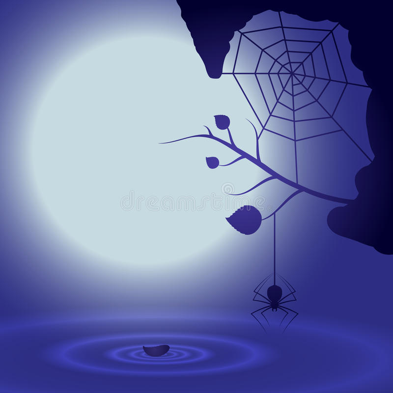 Halloween background with full moon and spider. royalty free illustration