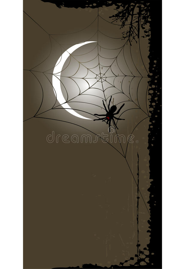 Halloween background with full moon and spider web vector illustration