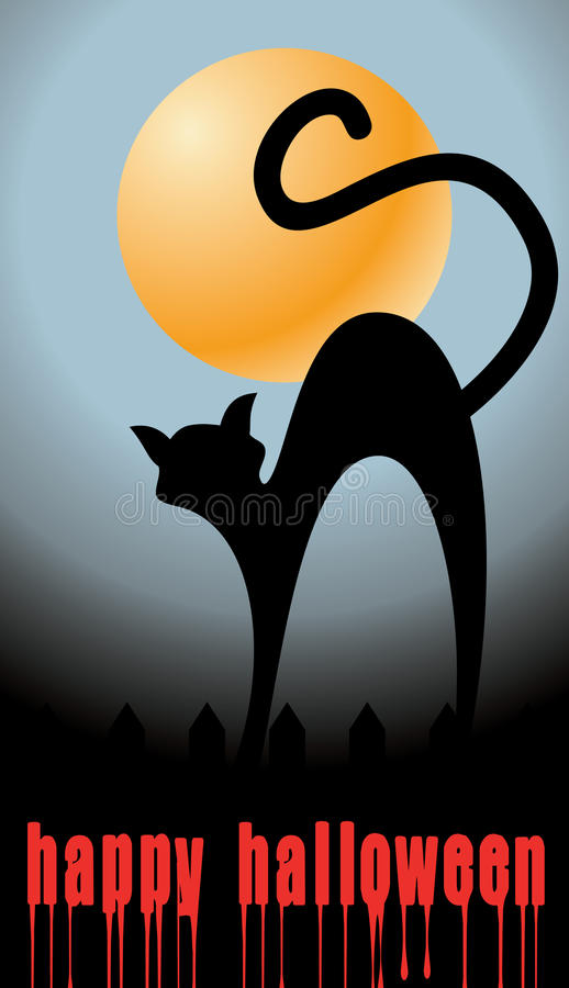 Halloween background with full orange moon and bla royalty free illustration