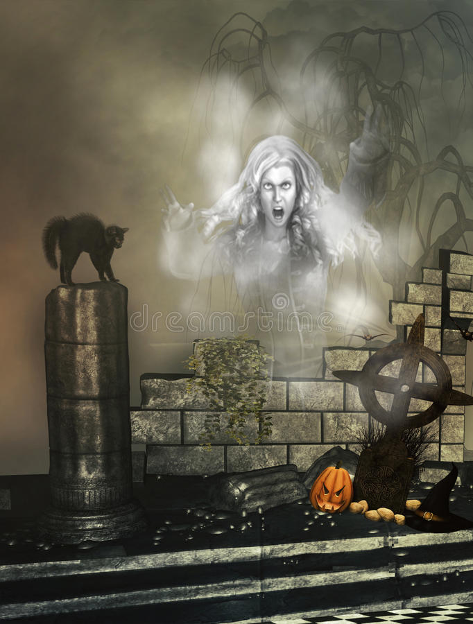 Download Halloween Background With Ghost Stock Illustration - Illustration of balck, background: 40204931