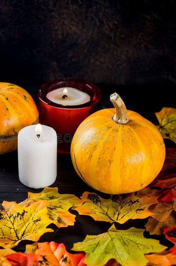 Halloween background with gingerbread, pumpkins and candles. Halloween decorations,pumpkins, variety of gingerbreads,, spider and cobweb on black background royalty free stock image