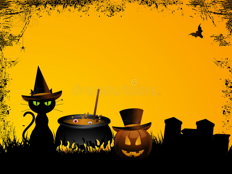 Halloween background with grunge vector illustration