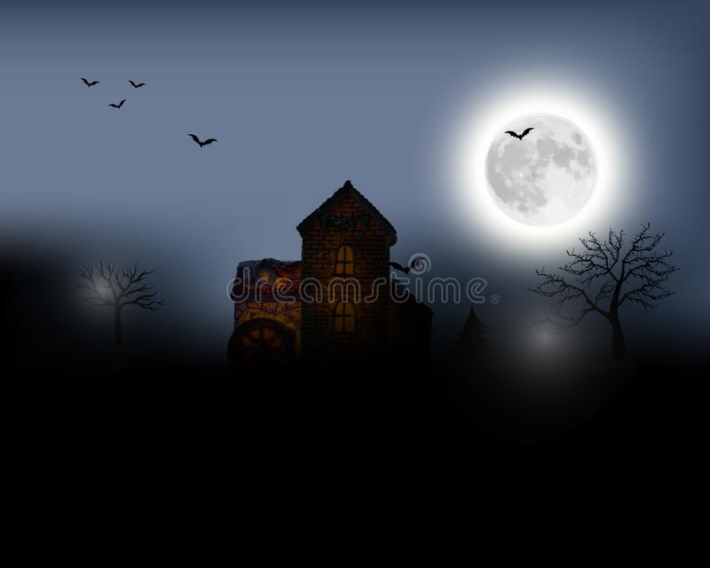 Halloween background. Halloween landscape with full moon. Mysterious illustration. royalty free stock images