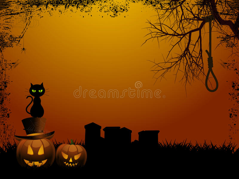 Halloween background and hangmans nooseai stock illustration