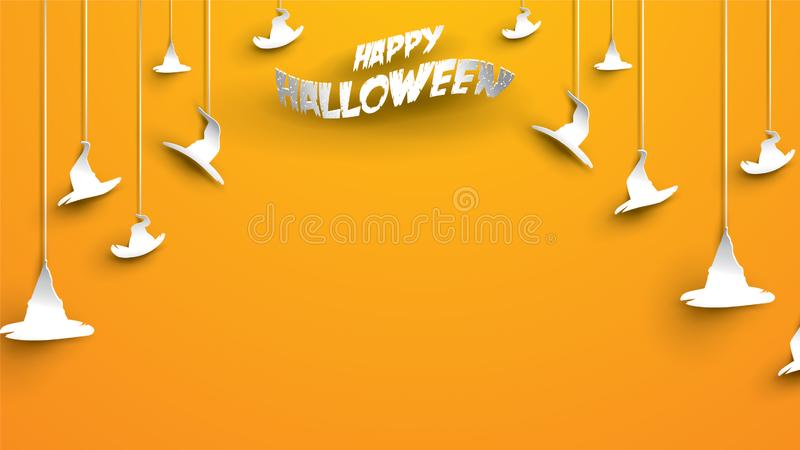Halloween background with hat witch in paper art carving style. banner, poster, Flyer or invitation template party. Vector illustr. Ation vector illustration