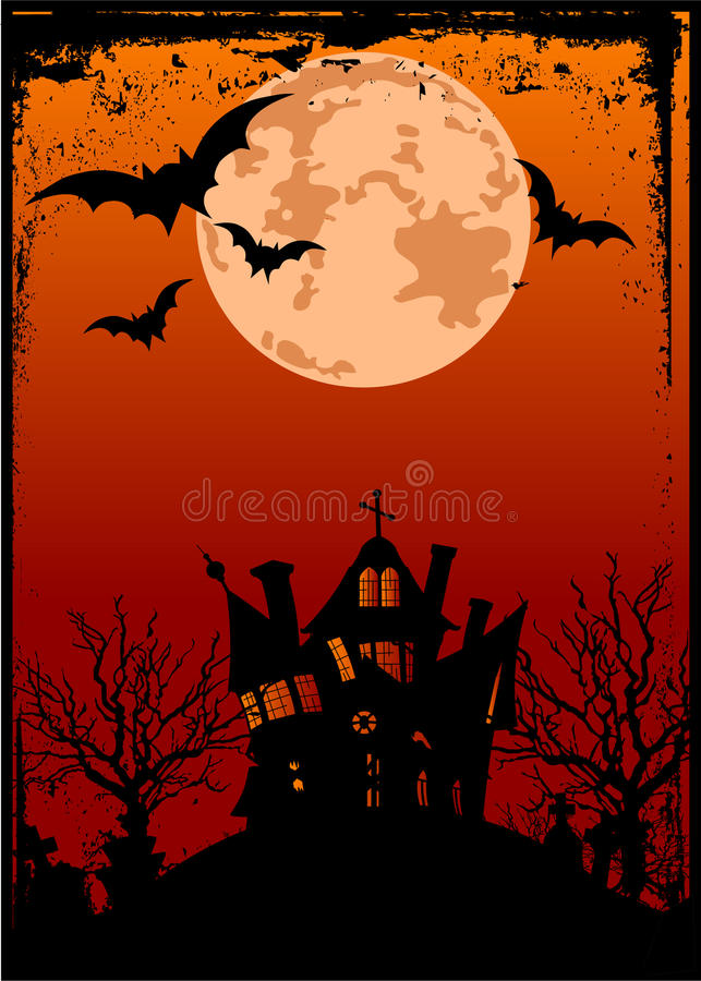 Halloween background with haunted house stock illustration