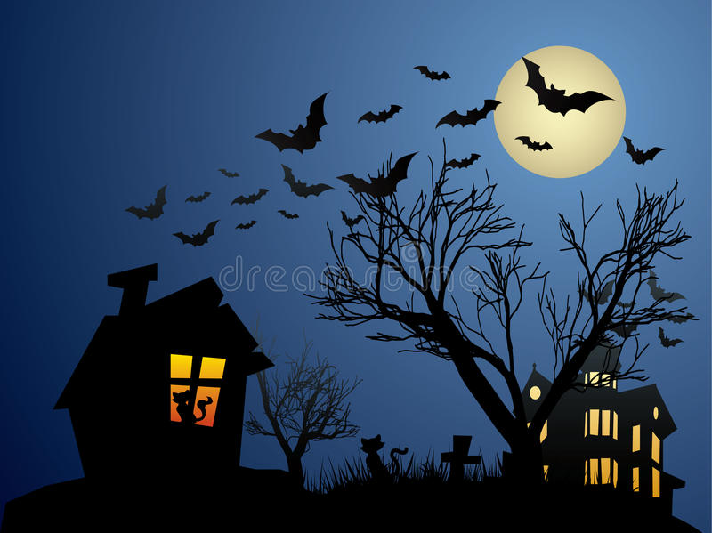 Halloween background with haunted house, bats and vector illustration