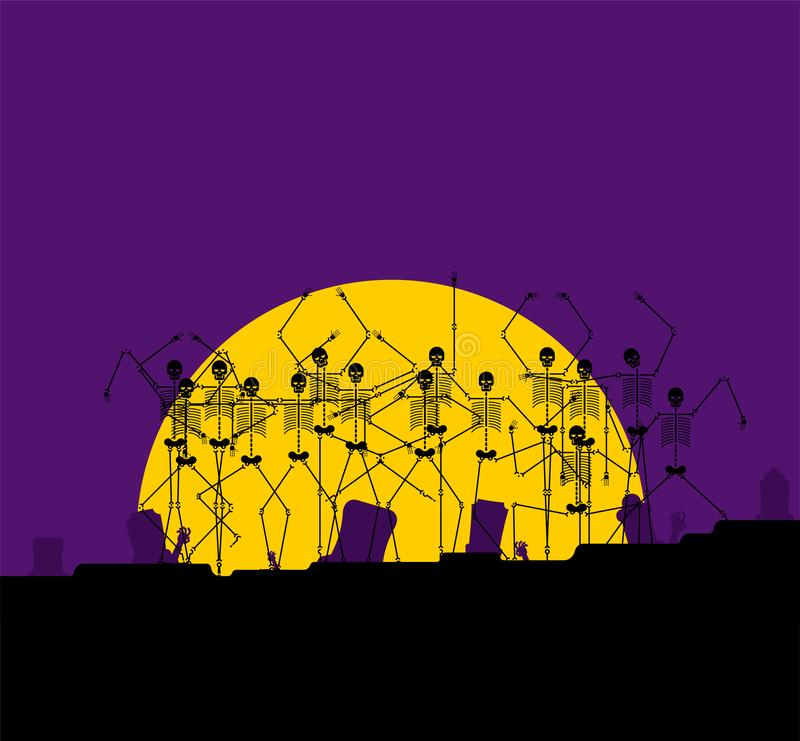 Halloween background horror. Cemetery and moon. Pumpkin and zombies. Skeletons. Scary Holiday Backdrop Vector Illustration royalty free illustration