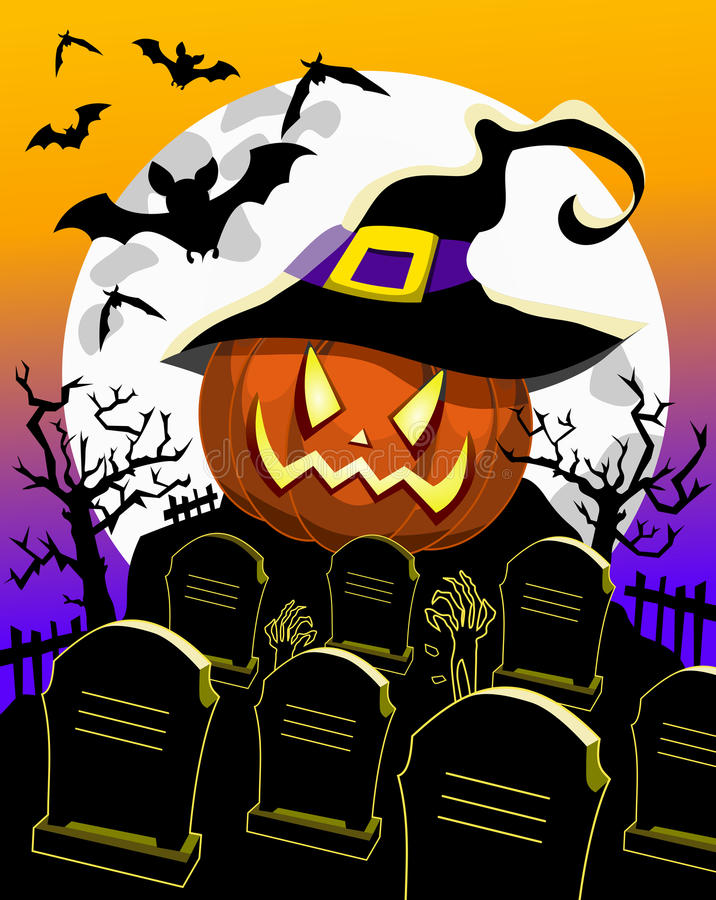 Halloween Background Pumpkin Witch Hat Cemetery. Illustration featuring halloween background with halloween pumpkin at cemetery with bats full moon and graves vector illustration