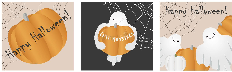 Halloween background invitation party of cheerful pumpkins stock illustration
