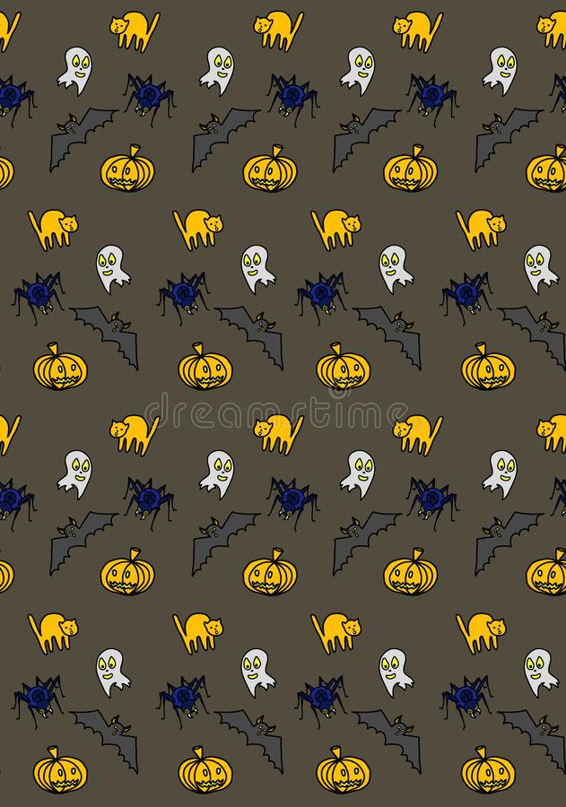 Halloween background pattern with cat, bat and others royalty free illustration