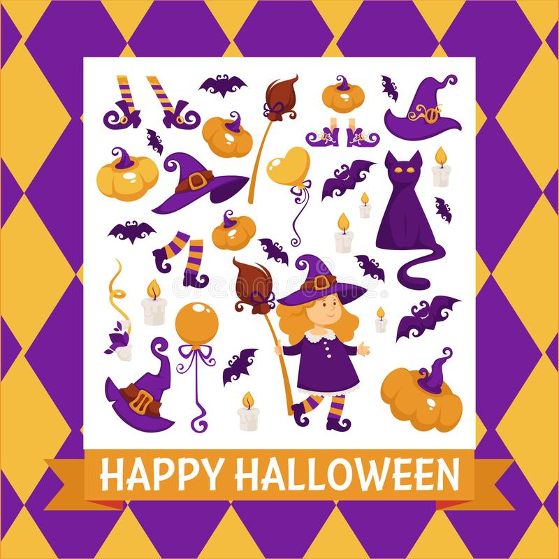 Halloween background poster. Vector frame with pumpkin royalty free illustration