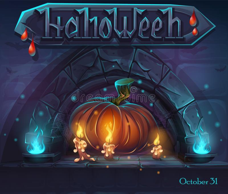 Halloween background - pumpkin and candles witn a drop of blood vector illustration