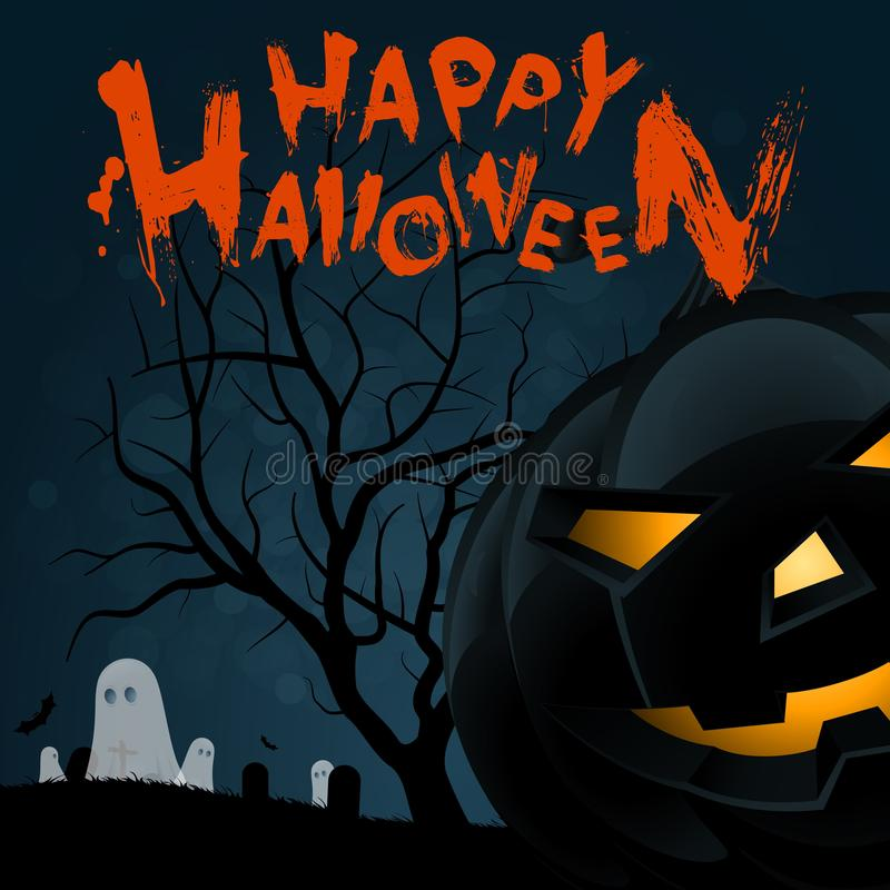 Halloween Background with Pumpkin stock illustration