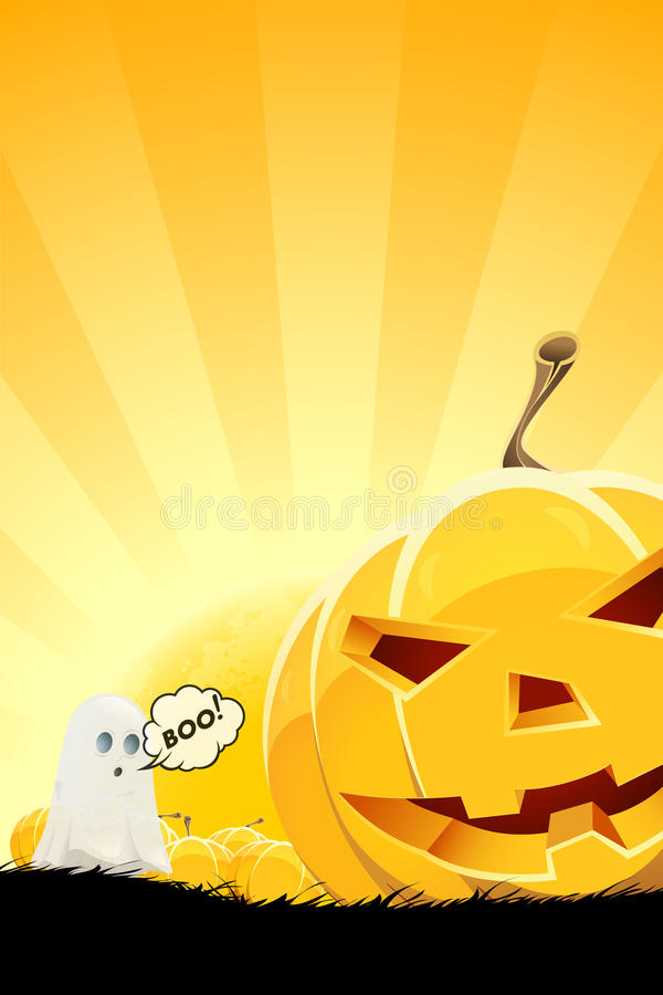 Halloween Background with Pumpkin and Ghost vector illustration