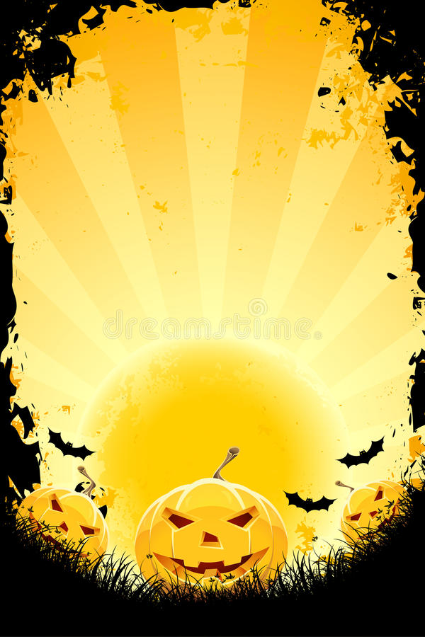 Halloween background with pumpkins and bats royalty free stock photography