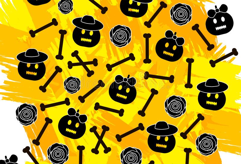 Halloween background with pumpkins, bones, flowers and colorful stock illustration