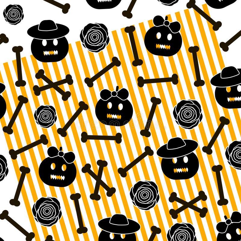 Halloween background with pumpkins, bones, flowers and orange li stock illustration