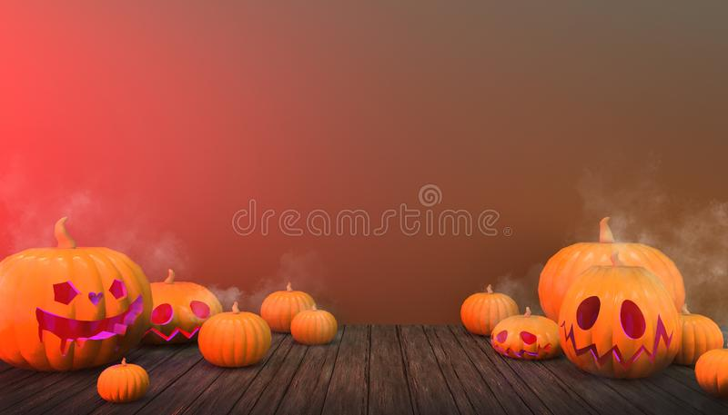 Halloween Background Pumpkins e Smoke Red Color in Floor Wood su pastel Green Display Art illustrazione di stock