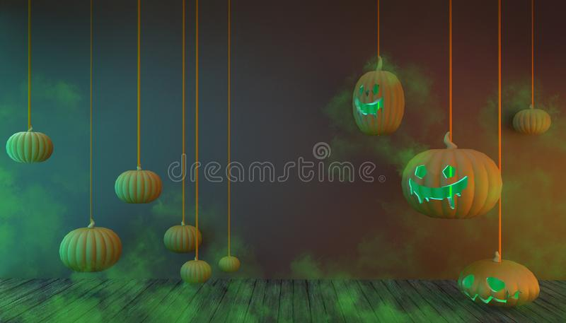 Halloween Background Pumpkins Hangting and Smoke Green Color in Floor Wood su Green pastel Display Art illustrazione di stock