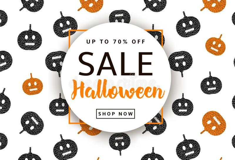 Halloween background with pumpkins. Sale poster royalty free illustration