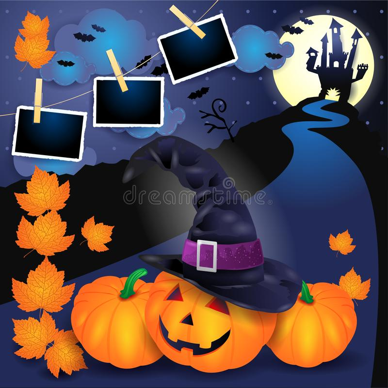 Halloween background with pumpkins, witch`s hat, castle and phot. O frames. Vector illustration eps10 vector illustration