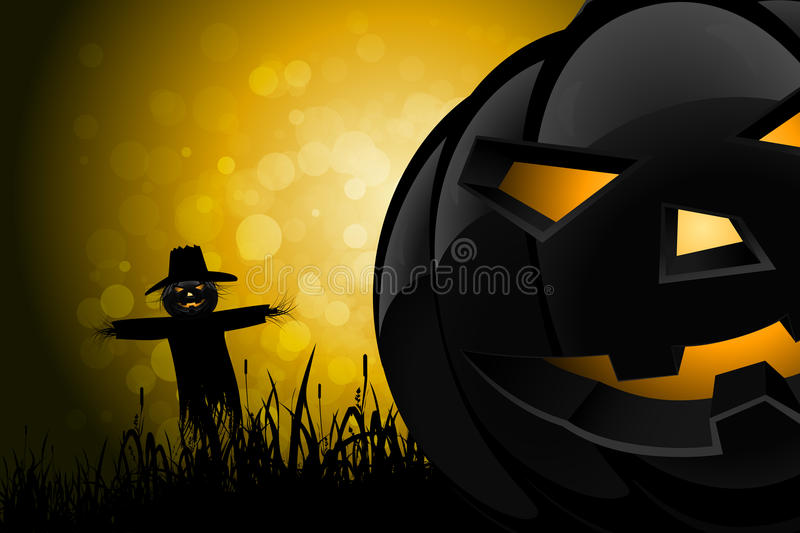 Halloween Background with Scarecrow and Pumpkin stock illustration