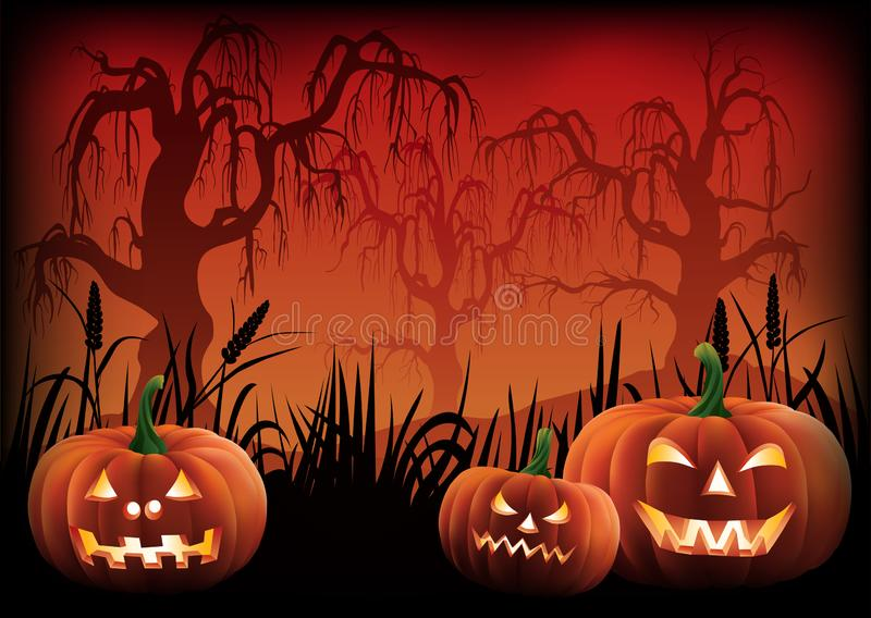 Halloween Background with Scary Pumpkins Vector royalty free stock photo