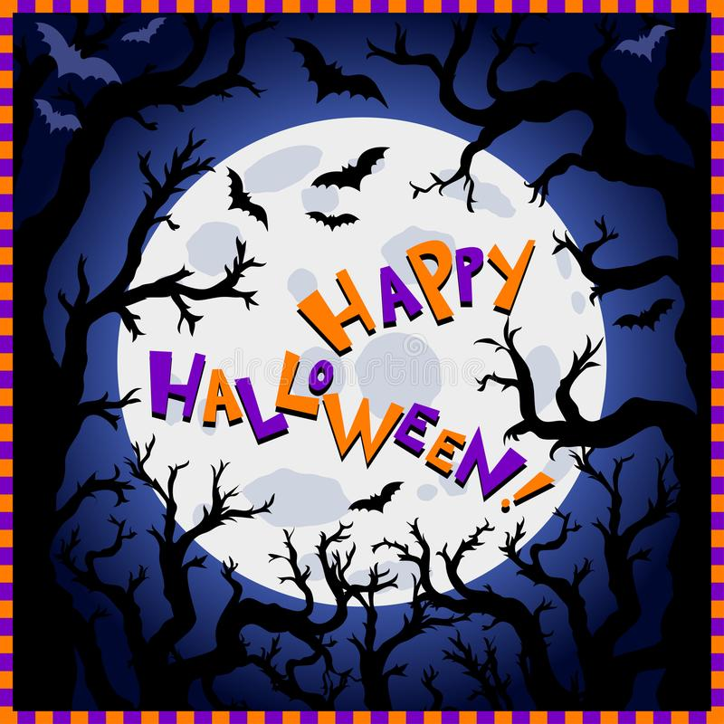 Halloween background. Scary trees, big moon and flying bats vector illustration