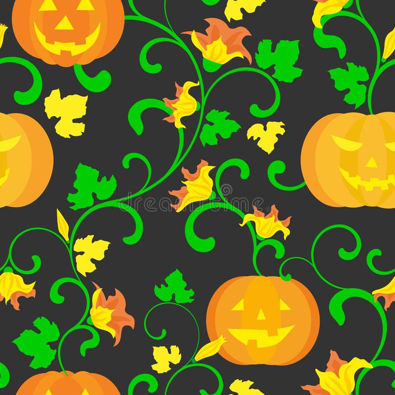 Halloween background. Seamless pattern. Pumpkin with twisted stems, leaves and flowers on a black background vector illustration