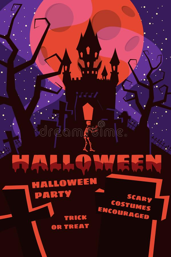 Halloween background with semetery and sceleton, haunted castle, house and full moon. Poster, flyer or invitation vector illustration