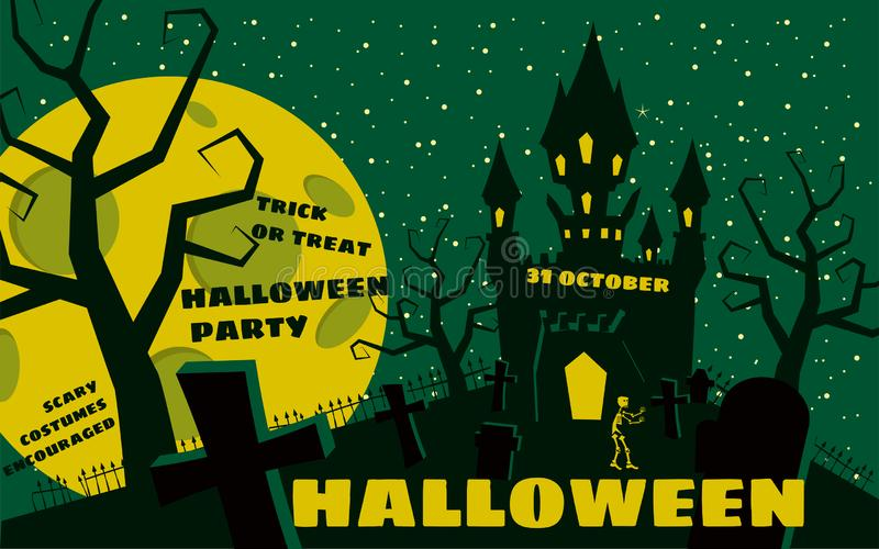 Halloween background with semetery and sceleton, haunted castle, house and full moon. Poster, flyer or invitation royalty free illustration