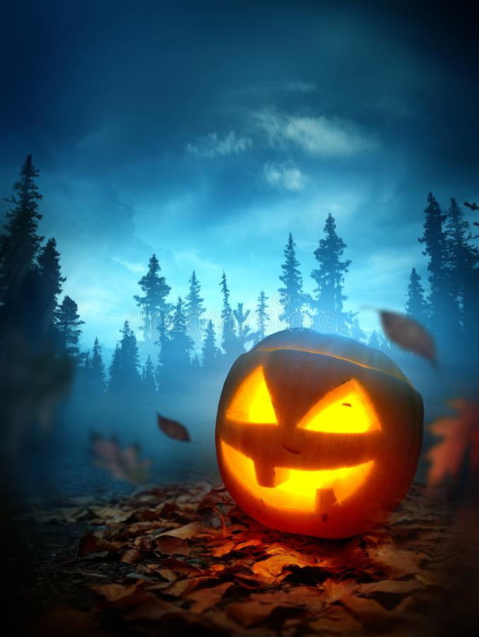 Halloween Background With a Spooky Jack O Lantern At Night royalty free stock image