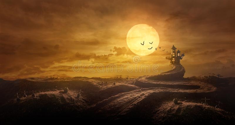 Halloween background through Stretched road grave to Castle spooky in night of full moon and bats flying royalty free stock photo