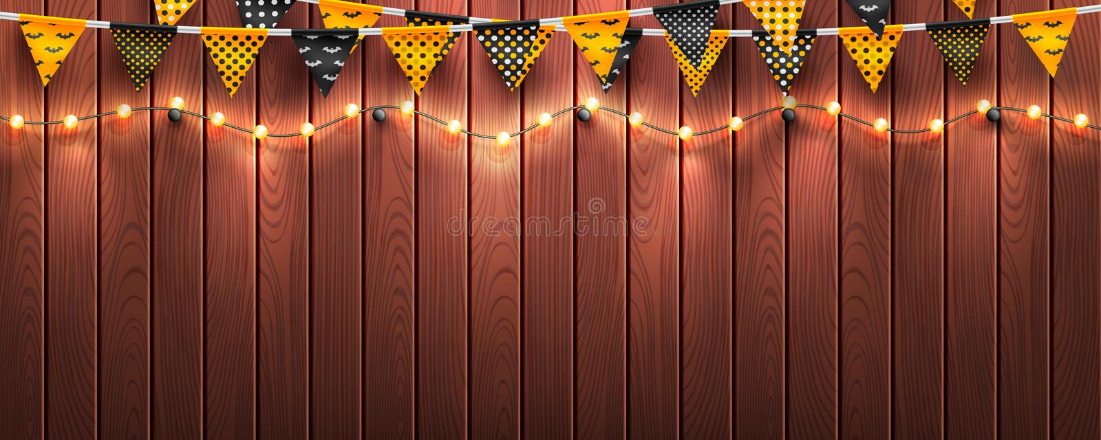 Halloween background with string light and Halloween buntings on wood background.Website spooky or banner template.Vector. Illustration EPS10 stock illustration