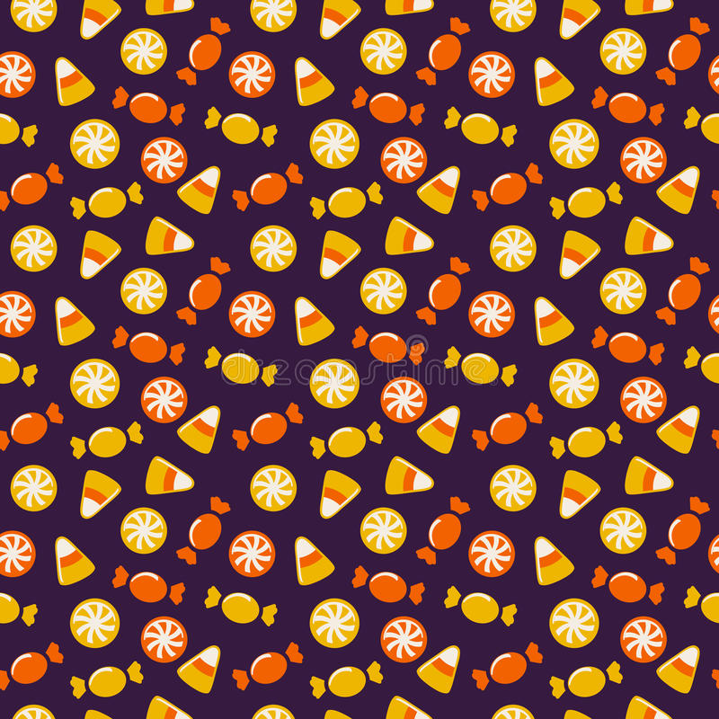 Halloween background with sweets. Seamless vector pattern. vector illustration